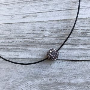 Gunmetal Pavé Crystal & Leather Cord Necklace NEW